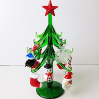 Glass Tree Plant Christmas Decoration Figurine