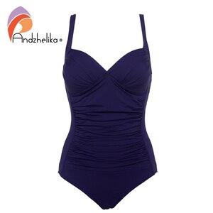 Image 3 - أندذاهليك قطعة واحدة ملابس السباحة 2019 النساء الصلبة الشاطئ حجم كبير داخلية خمر ريترو أضعاف لباس سباحة Monokini