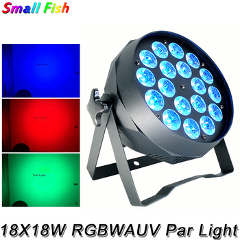 цены 18X18W Disco Wash LED Flat Par Light Professional RGBWAUV Color Lighting Strobe DMX DJ Club Wedding Dance Floor Party Show Light