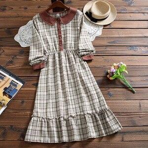 Image 3 - Милое модное клетчатое платье Mori girl, Осеннее Повседневное платье в стиле Питер Пэн с воротником и длинным рукавом для женщин