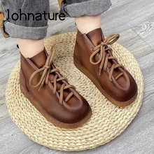 Women Shoes Platform-Boots Lace-Up Retro Genuine-Leather Johnature Ankle with New Handmade