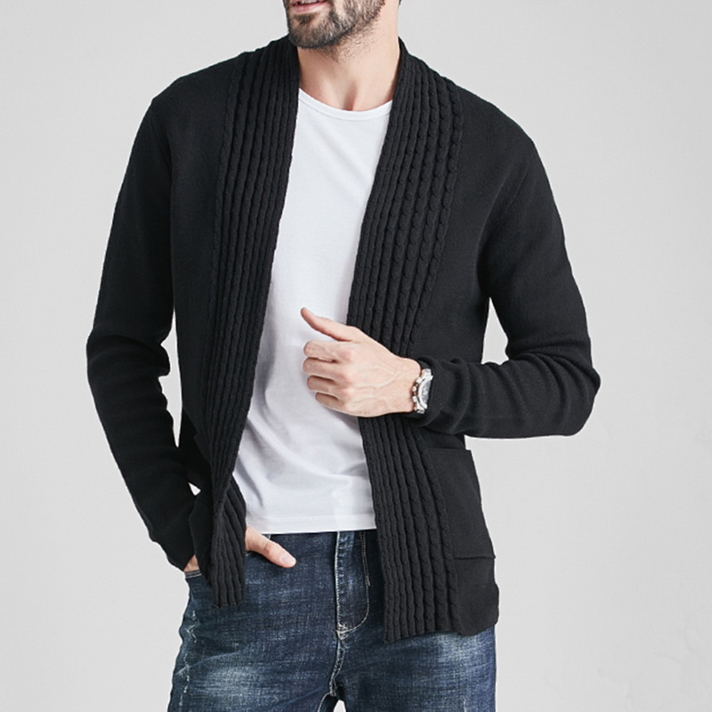 Winter Autumn Casual Solid Color Cardigans Men Long Sleeve Sweater Coat With Pocket Coats Men Knitted Jacket