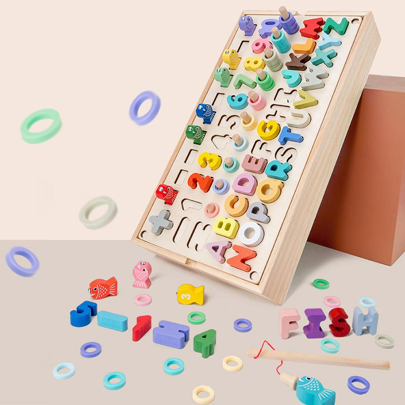 Preschool Wooden Montessori Educational Toy Geometric Figures Shapes Cognition Magnetic Fishing Math Busy Board Toy For Children
