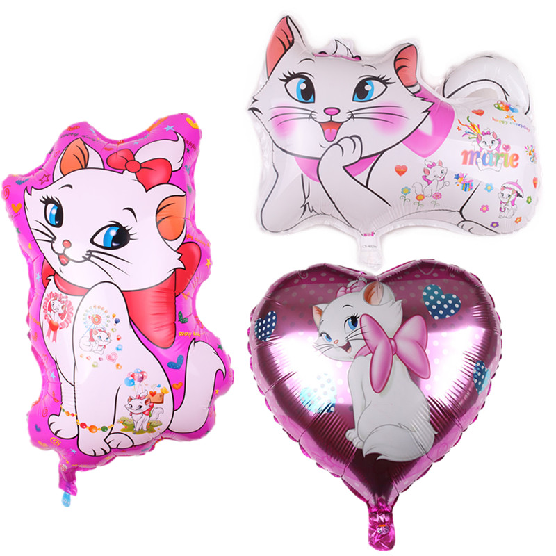 1Pcs Marie Cat Theme Aluminum Balloon Girls Birthday Party Supplies Baby Shower Decoration Air Balloon Child Toy