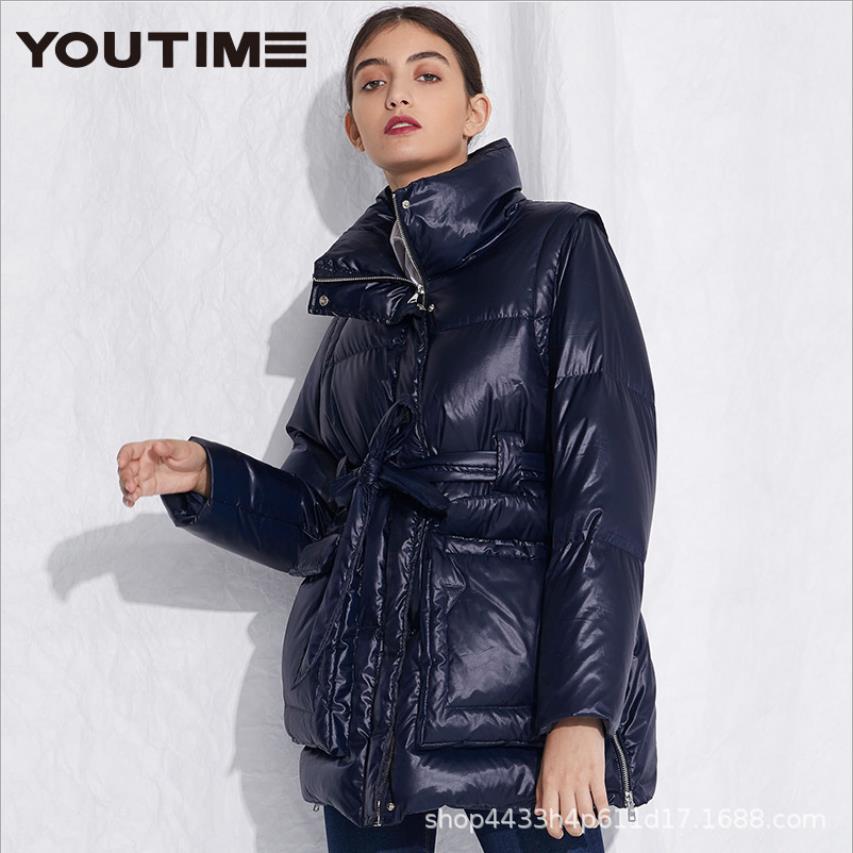 Abrigo de plumas de pato mullido cálido con bolsillos grandes de Invierno para mujer, chaqueta delgada con cuello alto, Parkas gruesas cálidas con cinturón F717
