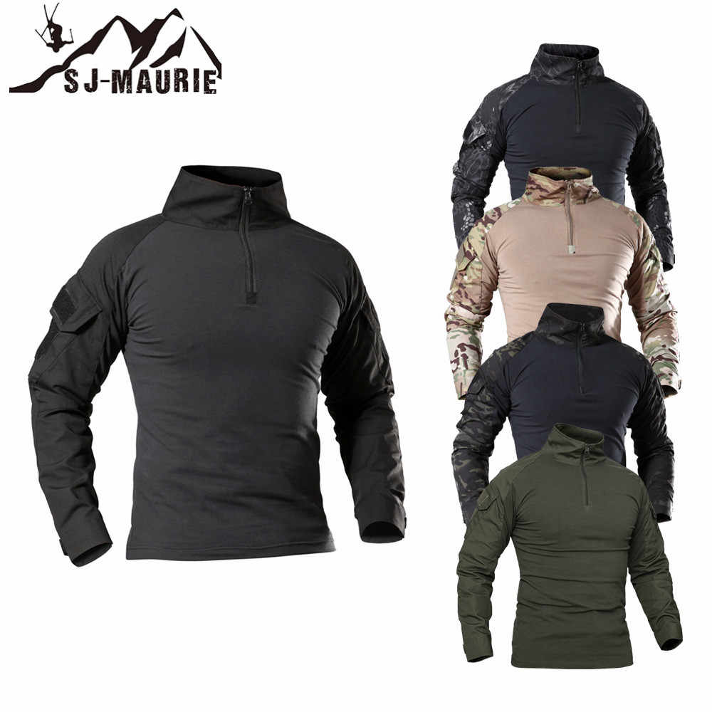 SJ-MAURIE Outdoor Tactische T-shirt Mannen Combat Shirt Airsoft Paintball Tactische Militaire Leger Shirts Uniform Wandelen Jacht Shirt