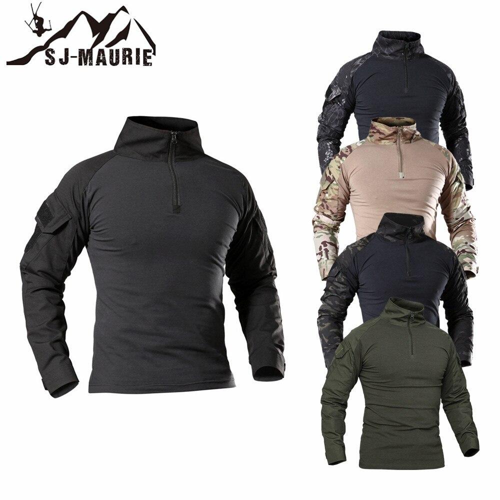 SJ-MAURIE Outdoor Tactical T-Shirt Da Uomo Camicia di Combattimento Airsoft Paintball Tattico Militare Dell'esercito Camicette Uniforme Da Trekking Caccia Shirt