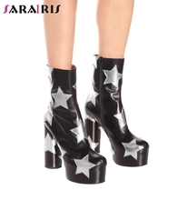 SARAIRIS Brand New 34-43 Luxury Print Star Genuine Leather High Heels Platform Shoes Woman Casual Party Sexy Ankle Boots Women