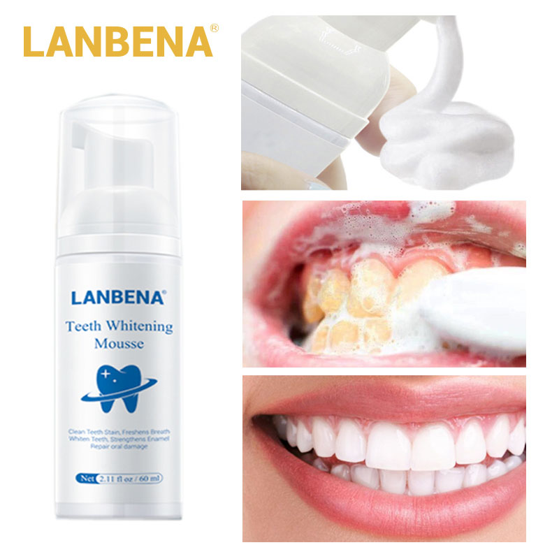 LANBENA Teeth Whitening Mousse Teeth Cleaning Toothpaste Dental Oral Hygiene Remove Stains Plaque Stains Bright Teeth Portable