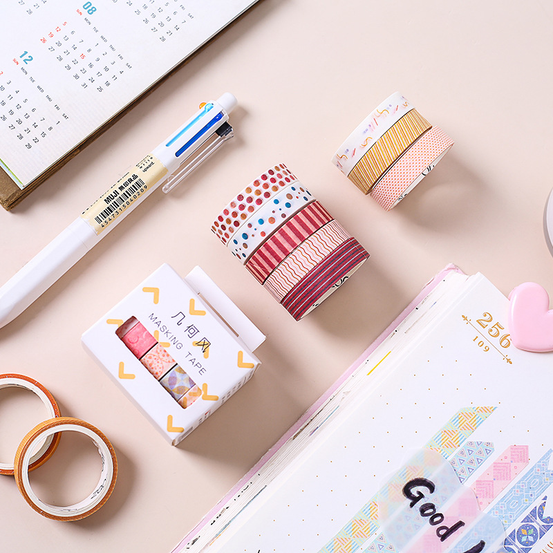 5 Pcs Geometric Washi Tape Autumn Simple Decorative Tape Dot Masking Tape Travel Scrapbooking Bullet Journal Stationery Stickers