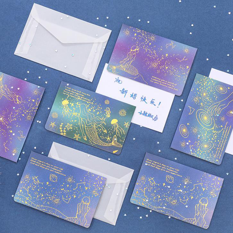 1 Set Lovely Mermaid Starry Sky Transparent Golden Postcards Envelope Message Card Letter Greeting Card Stationary Birthday Gift