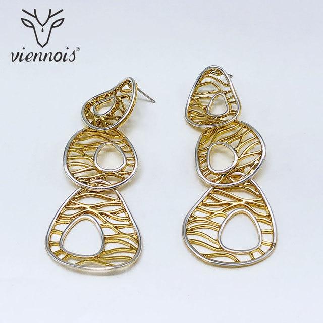 Viennois nouvelles boucles doreilles pour femmes conception creuse géométrie conception femme métallique bijoux de fête