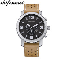 Shifenmei Mens Watches Top Brand Luxury Sports Quartz Watch Men Fashion Waterproof Leather Strap Men Watches erkek kol saati 57mm planetary gearbox geared stepper motor ratio 10 1 nema23 l 56mm 3a