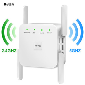 KuWfi Wireless Wifi Repeater WiFi Extender 2.4G 5G AP Router WiFi Amplifier Signal Repeater support windows xp /win10 mac os etc(China)