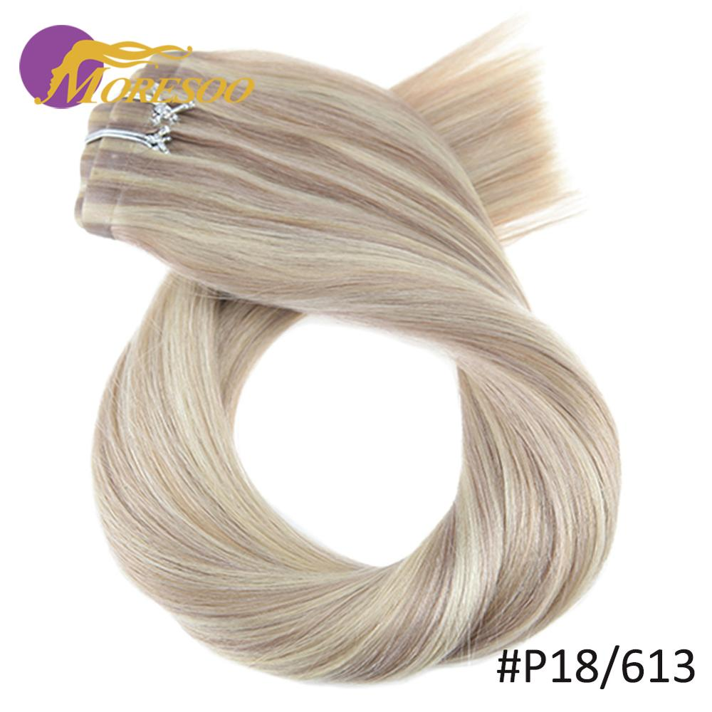 Moresoo Seamless PU Clip Ins 16-24 Inch Clip In Human Hair Extensions Straight Machine Remy Brazilian Hair 7PC 100G Natural Hair