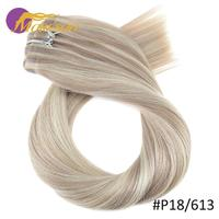 Moresoo Seamless PU Clip ins 16 24 inch Clip in Human Hair Extensions Straight Machine Remy Brazilian Hair 7PC 100G Natural Hair