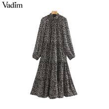 Vadim donne elegante stampa floreale midi del vestito a maniche lunghe femminile casual stile diritto allentato abiti alla moda abiti mujer QC955