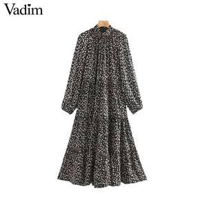 Image 1 - Vadim vrouwen elegante bloemenprint midi jurk met lange mouwen vrouwelijke toevallige rechte stijl losse jurken stijlvolle vestidos mujer QC955