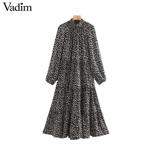 Vadim vrouwen elegante bloemenprint midi jurk met lange mouwen vrouwelijke toevallige rechte stijl losse jurken stijlvolle vestidos mujer QC955