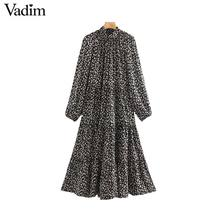 Vadim women elegant floral print midi dress long sleeve female casual straight style loose dresses stylish vestidos mujer QC955