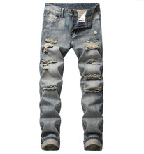 Denim Trousers Straight Washed with Pleated Ripped holes button skinny biker jeans blue 2019 slim fit jeans men pants hot sale 2018 mens leg with hole straight slim biker denim jeans trousers skinny pants