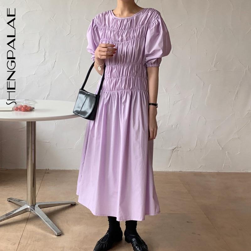 SHENGPALAE 2020 New Summer Women Vintage Loose High Waist Slim Was Thin Elegant Puff Sleeves Folds Maxi Dress ZA4137