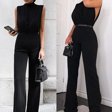 Sexy Black Sleeveless Jumpsuit Women Fashion High Collar Tie Casual Jump Suit Solid Color Monos Mujer Summer Party Jumpsuit #25