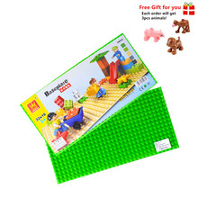 4pcs/lot Big Baseplate 51*25.5cm Building Surface for Self-Locking Blocks Compatible with Lego Duplo Bricks Baby Children Toys купить недорого в Москве
