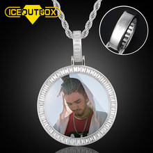 New 925 Sterling Silver Custom Made Photos Medallions Pendant Neckalce Top Quality Micro Pave AAA+ Cubic Zirconia Stones Jewelry(China)