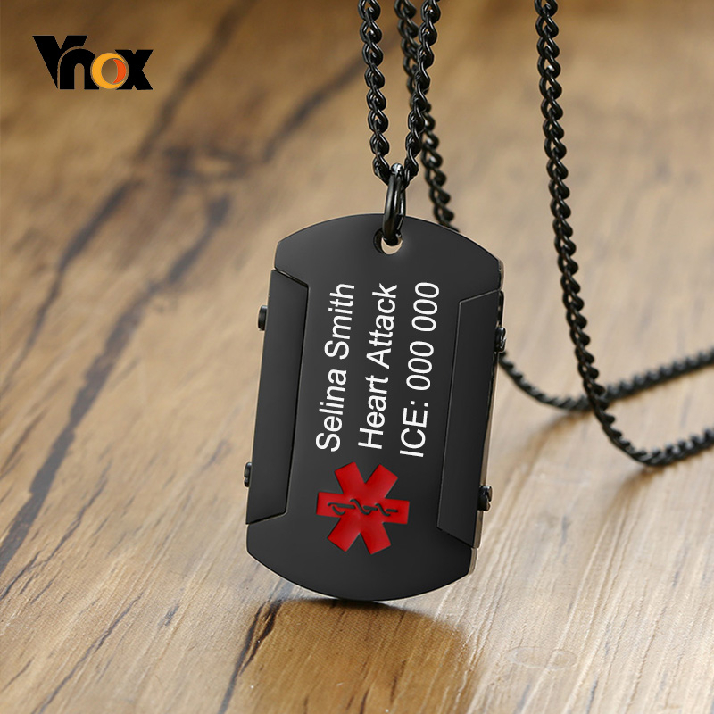 Vnox Free Personalize Black Medical Alert ID Pendant For Men Stainless Steel Thick Dog Tough Man Tag Necklace