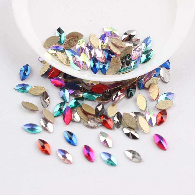 Все смешанные цвета, 30 шт, стразы для дизайна ногтей, сделай сам, без горячей фиксации, стеклянные камни для ногтей, драгоценные камни для 3D украшения для ногтей - Цвет: 3x6mm Horse eye