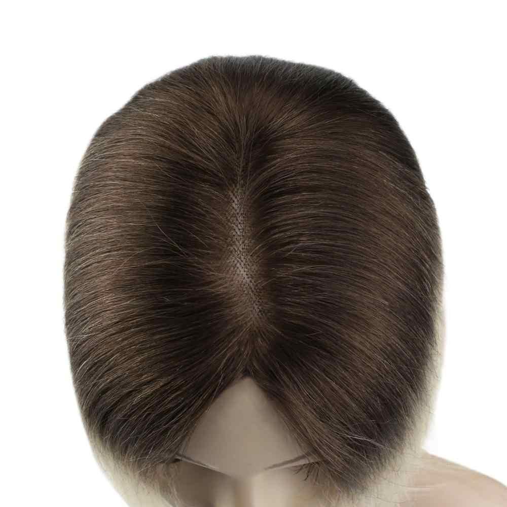 VeSunny Crown Hairpiece Mono Base Topper prawdziwe ludzkie włosy ręcznie wykonane peruka z 4 klipsami 5x5 cali Balayage podświetlony kolor