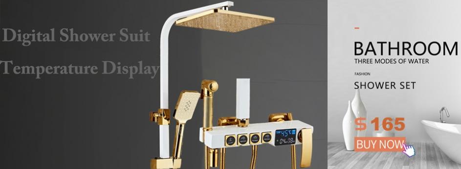 H22def3f932f94743974362f192e94ccaQ Hot and Cold Digital Shower Set Faucet Bathroom Shower System Black Gold Shower Faucet Square Shower Head Bath Shower System