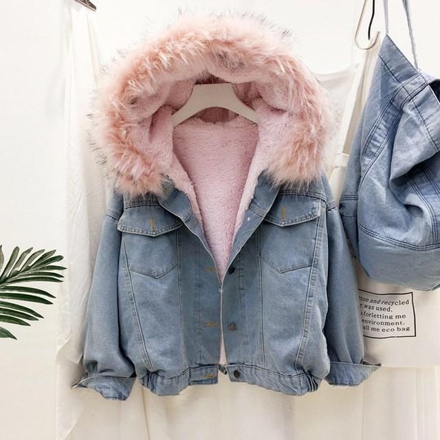 Velvet thick denim jacket winter big faux fur collar Korea denim coat 1