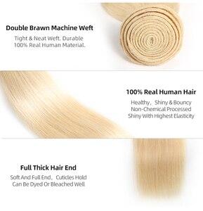 Image 3 - Ali kraliçe saç brezilyalı Remy insan saç örgüleri demetleri #613/#33/#30/#27/# 99J/# BURG düz insan saçı uzantıları saç atkı