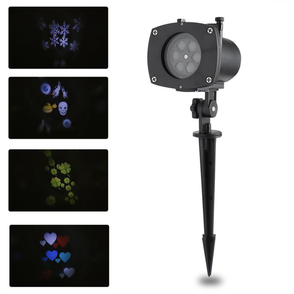 LED Switchable Pattern Slides Sparkling Landscape Projector Light Waterproof Christmas Holiday Party Xmas Decor Stage Effect