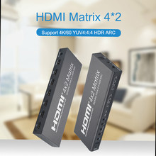 4k 60hz hdmi matriz 4x2 hdr arco hdmi interruptor divisor 4 em 2 fora yuv 4:4:4 spdif otico + 3.5mm jack saida de áudio hdmi swa