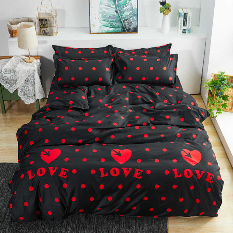 Simple Style home bedding sets blue heart love bed linen duvet cover flat sheet Bedding Set Twin Full King Single Queen size