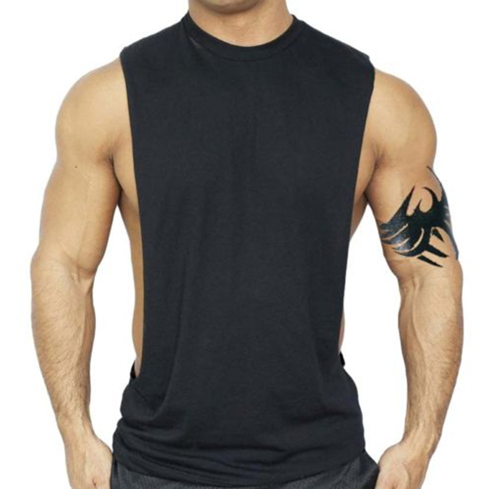 Men's Black Workout Vest   Tank     Top   Bodybuilding Muscle Fitness Men Clothing 2019 Mens   Tank     Tops   Shirt Solid Sleeveless Breathable