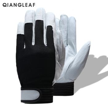 QIANGLEAF marka gorąca sprzedaż D wysokiej jakości skóra rękawice robocze rękawice odporne na zużycie ochronne rękawice robocze mężczyźni Mitten darmowa wysyłka 508 tanie i dobre opinie Skórzane NONE CN (pochodzenie) RĘKAWICE ROBOCZE ISO9001 CE Genuine Leather + Stretch Cloth Velcros 2019 01 30 Four Seasons