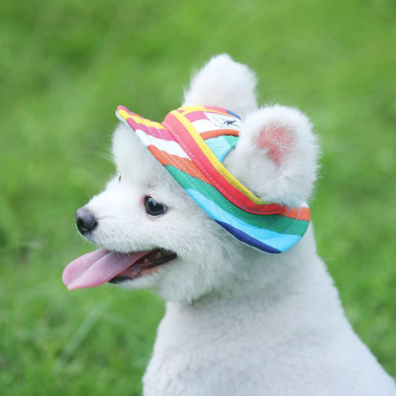 Pet köpek kap Tailup yaz bez örgü nefes Pet güneş şapkası tuval küçük köpek evcil hayvan ürünleri