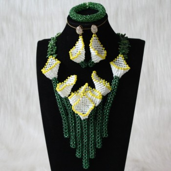 4UJewelry African White Flower Jewelry Set Necklace and Earrings Green Nigerian bridal Beads Necklace Handmade Jewellery Set New