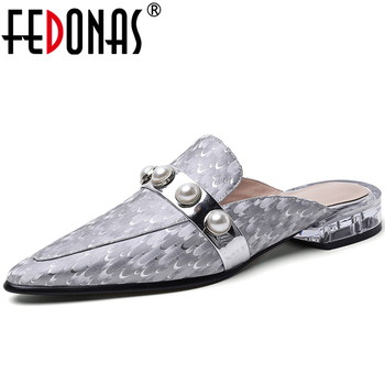 FEDONAS Spring Summer Concise Women Casual Cow Leather Pumps Pearl Metal Decoration Transparent Low Heel Slingbacks Shoes Woman