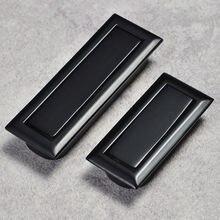 Современные встроенные скрытые черные мебельные ручки из нержавеющей