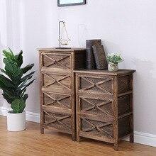 Cabinet Furniture Bedroom Storage-Table Bedside Living-Room Solid-Wood Nordic Paulownia