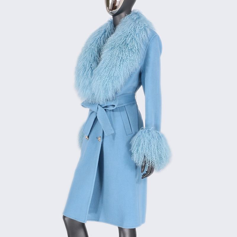 H22dfb24eb055491a8a7d8758c3c4a5338 2021X-Long Natural Mongolia Sheep Real Fur Coat Autumn Winter Jacket Women Double Breasted Belt Wool Blends Overcoat Streetwea