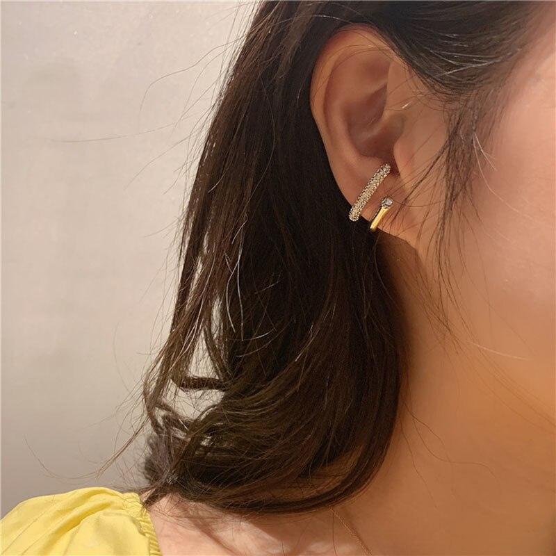 Korean Style Vintage Gold Double Layers Hook Geometric C Crystal Stud Earrings for Women
