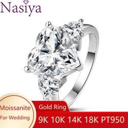 NASIYA najwyższej jakości 1ct Moissanite serce pierścienie dla kobiet 10K 14K 18K ślub zaręczyny biżuteria dla nowożeńców elegancki pierścionek akcesoria