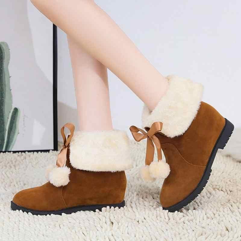 Mulher Moda Inverno Plush Fur Ankle Casual Botas Coolcept Pompom Manter Quentes Diárias Dedo Do Pé Redondo Sapatos De Neve Mulheres Botas Tamanho 35-40