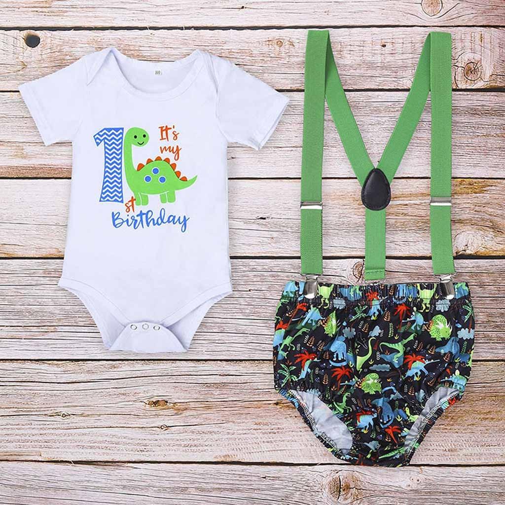 Одежда для новорожденных малышей Первый год рождения мультфильм ромпер с динозавром комбинезон шорты для младенцев, одежда для мальчиков, ...